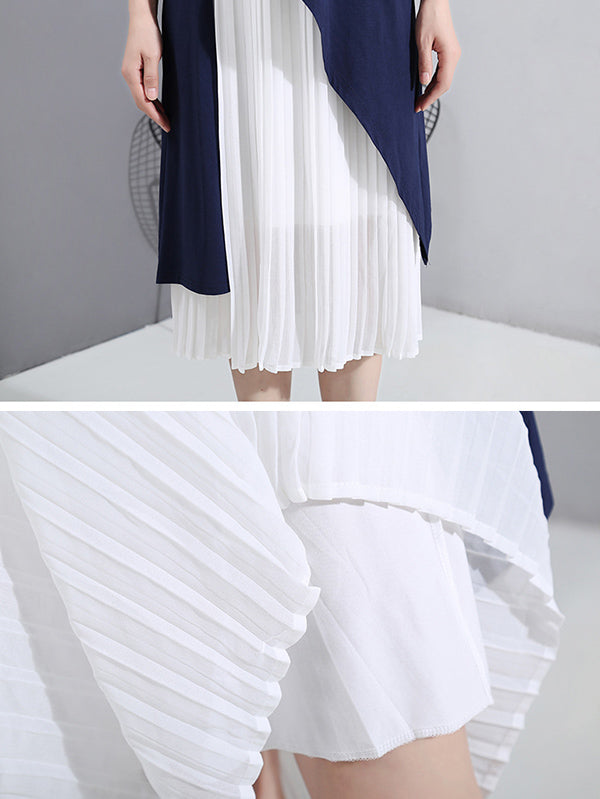 Two-Piece Cropped Pleats Elasticity Waist Dress