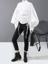 Drawstring Cropped Loose Stand Collar Shirt