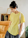 Loose Solid Color Casual Splicing T-Shirt