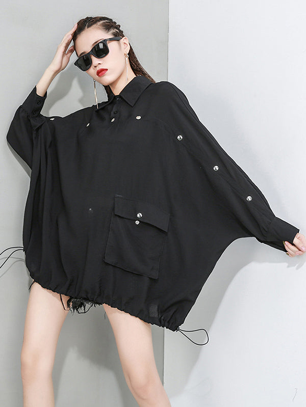 Loose Solid Color Cropped Bat Sleeve T-Shirt