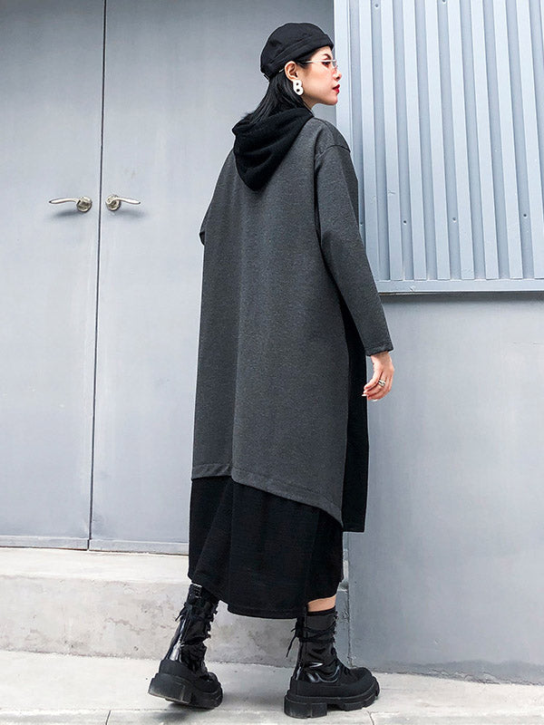 Splicing Color Loose Long Hooded A-Line Dress