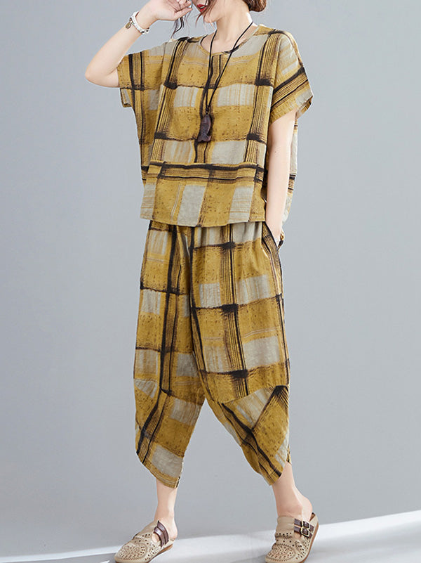 Casual Wide-Leg Yellow Plaid Comfortable Suits