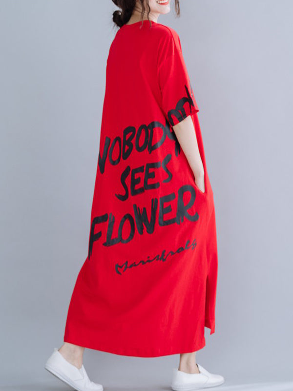 New Loose Oversize Letter Printed Dress