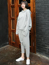 Light Gray Casual Solid Hoodie&Pants Suits