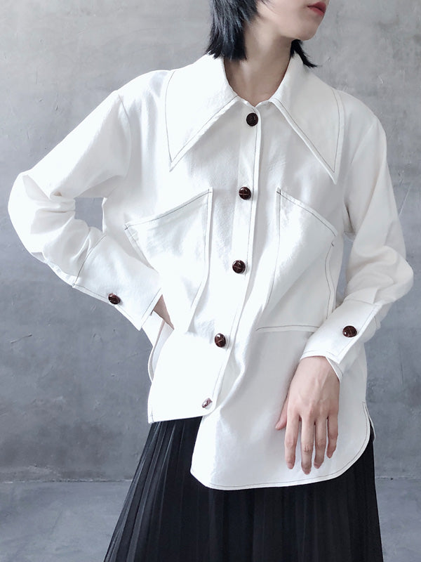Loose White Lapel Shirt