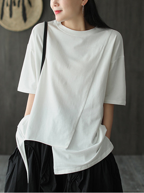 Loose Cropped White Round Neck T-Shirt
