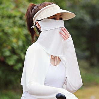 Solid Color Breathable Ice Silk Eye And Neck Protection Mask