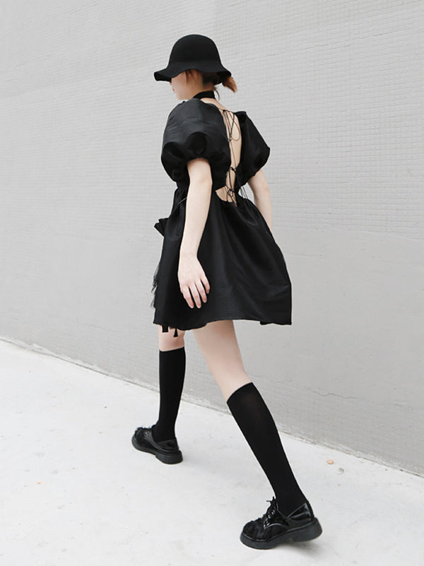 Black Backless Empire Bandage Puff Sleeves Dress