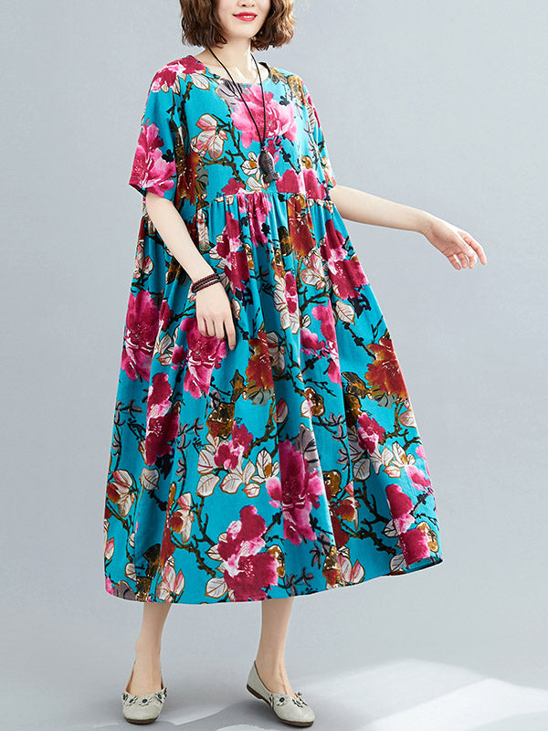 Loose Flower Printing National Dress