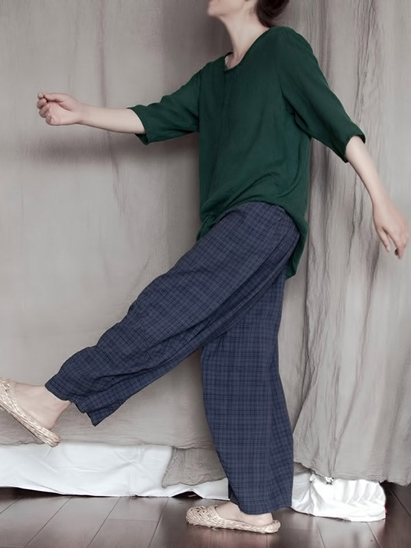 Loose Blue Plaid Comfortable Casual Wide-Leg Pants