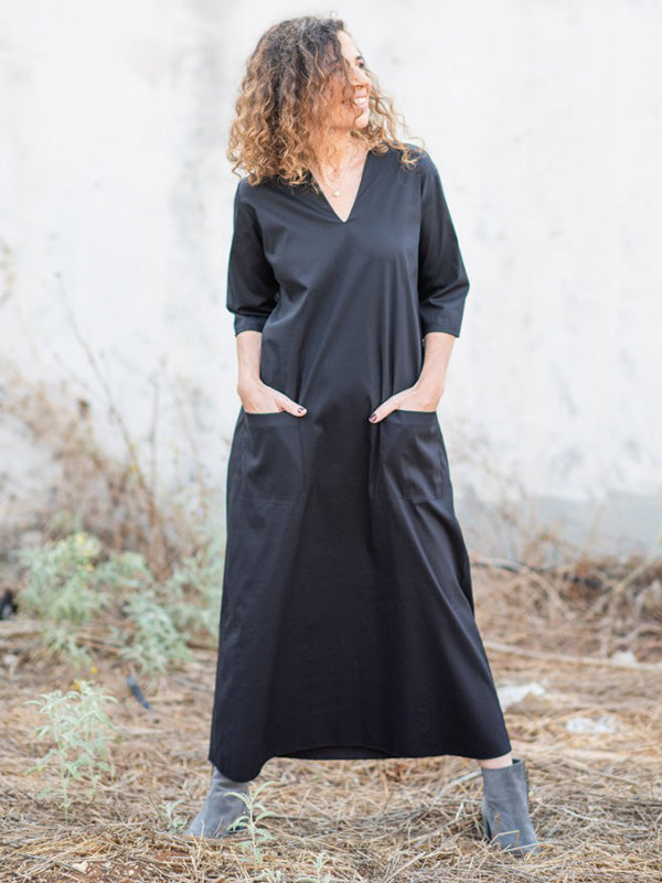 Simple Black V-Neck Half Sleeves Midi Dress
