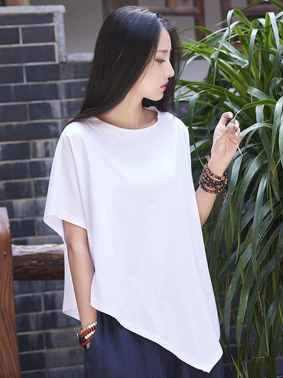 Asymmetric Retro Ramie Cotton Tops
