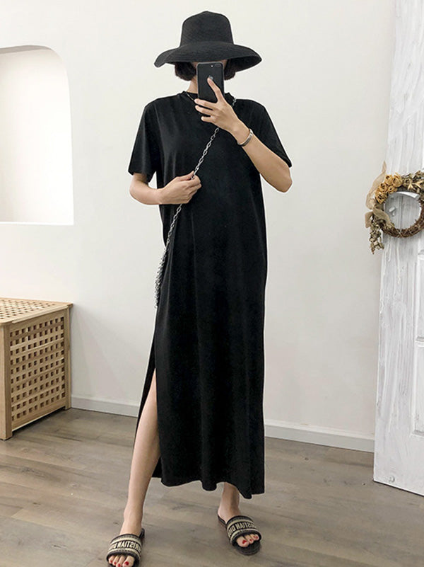 Loose Black Split-side Long Dress