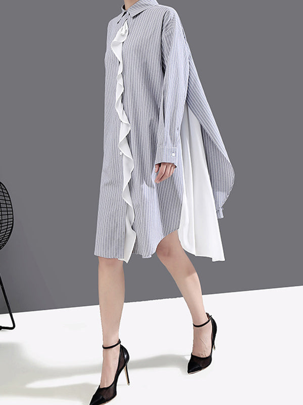 Loose Striped Chiffon Shirt Dress