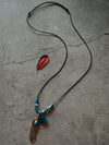 Vintage Feather Wooden Beads Tassel Long Necklace