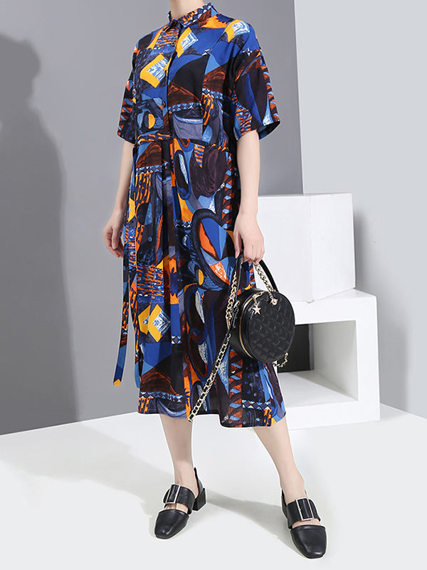 Printed Pleated Short Sleeves Shirt Dress