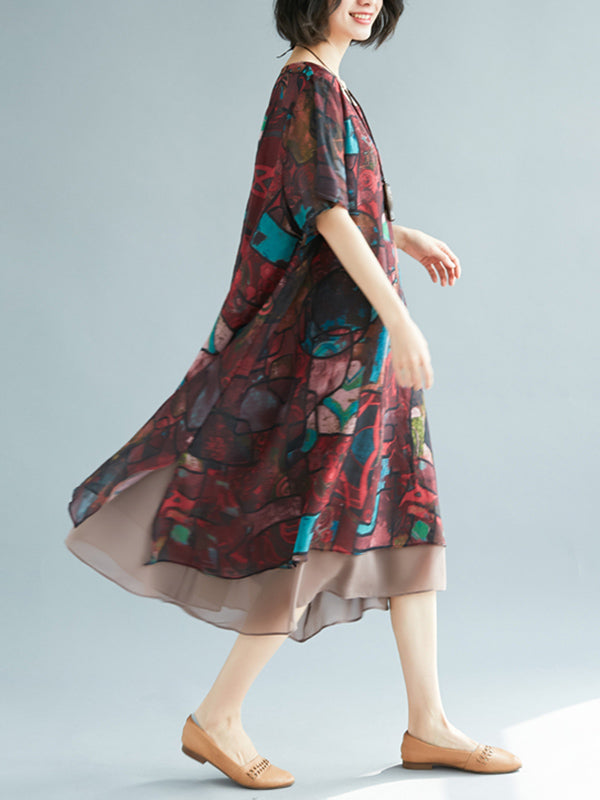 Loose Vintage Floral Chiffon Dress