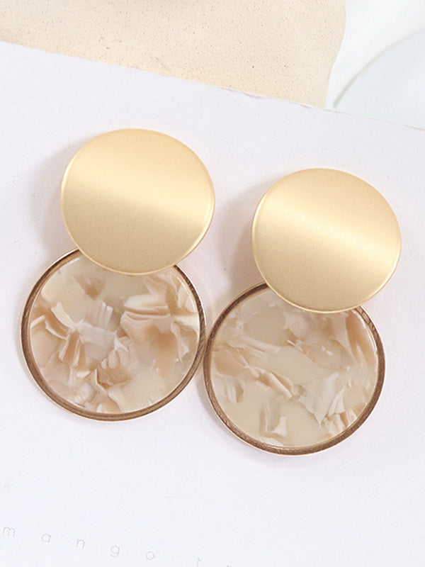 Elegant Marble Round Earrings