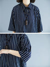 Two-Pieces Stripe Loose Three-Quarter Sleeve Lapel Suits