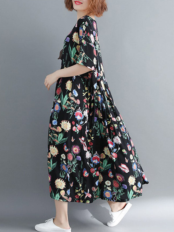Summer New Loose Oversize Printed Dress