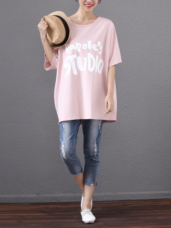Batwing Sleeves Printed Letter T-Shirt