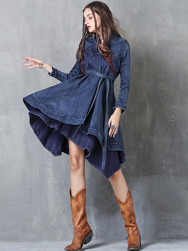 Embroidered Cropped Belted Jean Coat