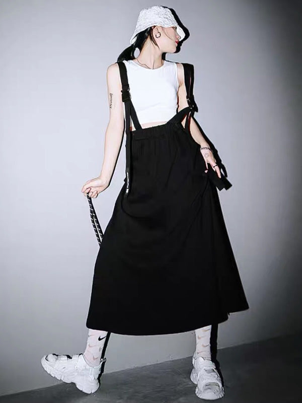 Simple Solid Cropped Suspender Skirts Bottoms