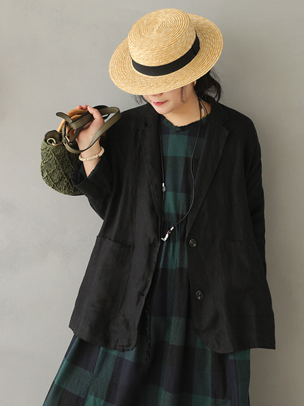 Vintage Casual Splicing Lapel Outwear