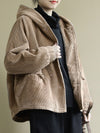 Casual Hooded Corduroy Jacket