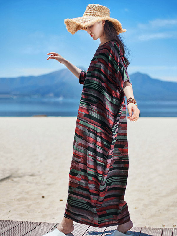 Casual Plus Size Loose Printed Maxi Dress