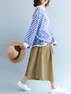 I -shaped Back Knitting Striped Casual Tops