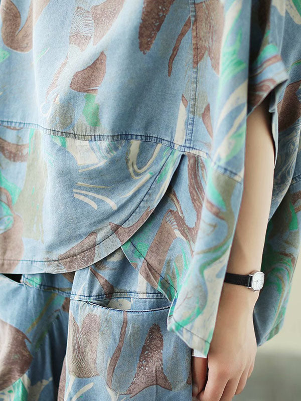 Artistic Retro Denim Two Pieces Suits