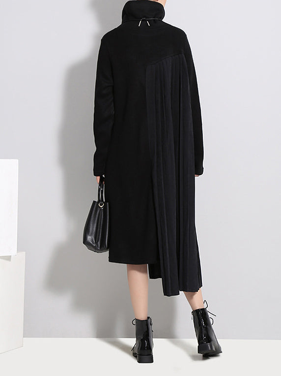 Cropped High-Neck Split-Joint Knitting Midi Dress