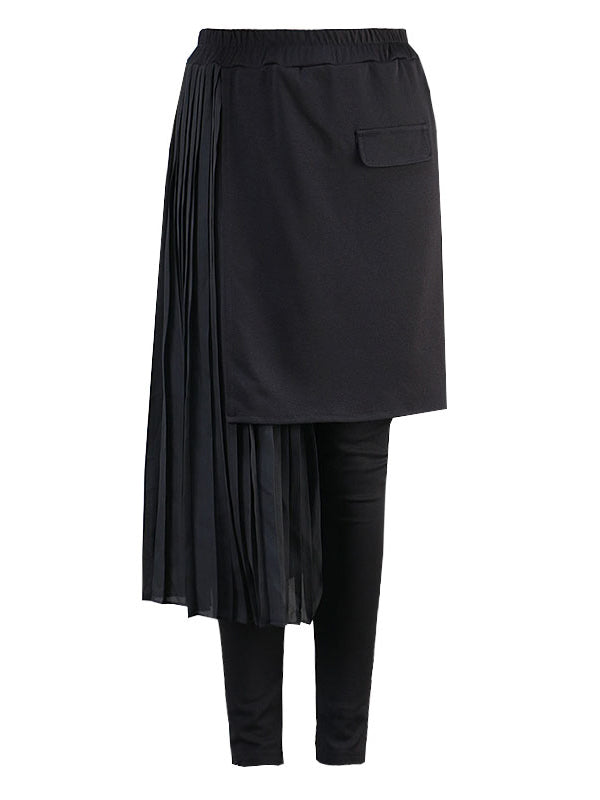 Stitching Cropped Pleats Culottes