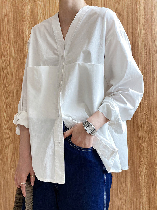 Loose Simple V-Neck Pocket Blouses