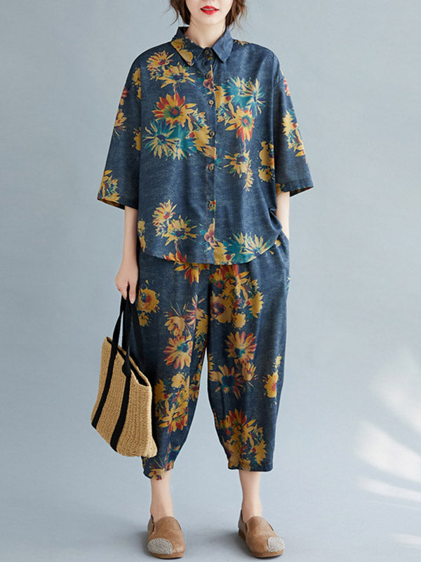 Casual Floral Shirt Blouse Tops+Harem Pants Suits