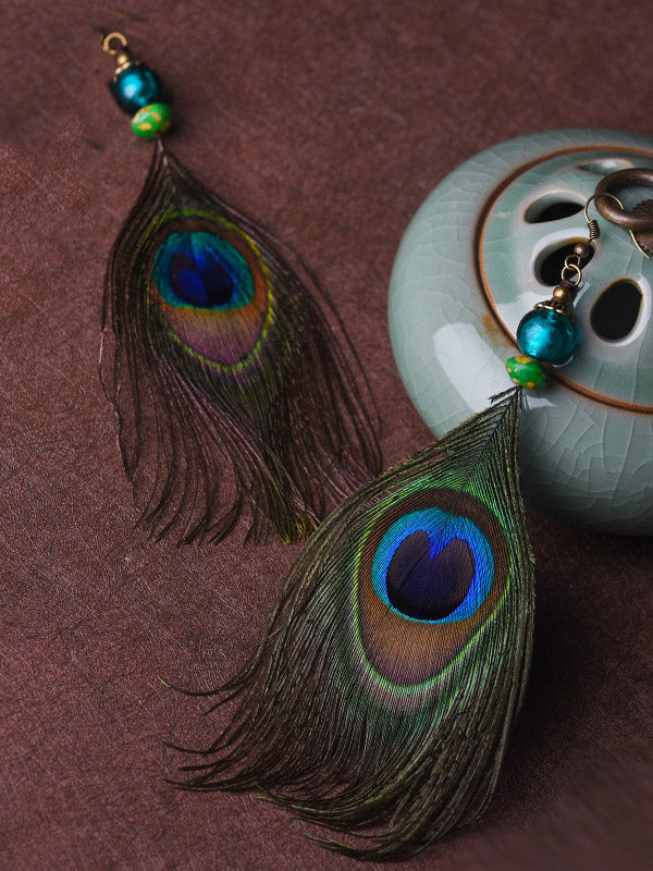 Ethnic Style Retro Peacock Feather Earrings