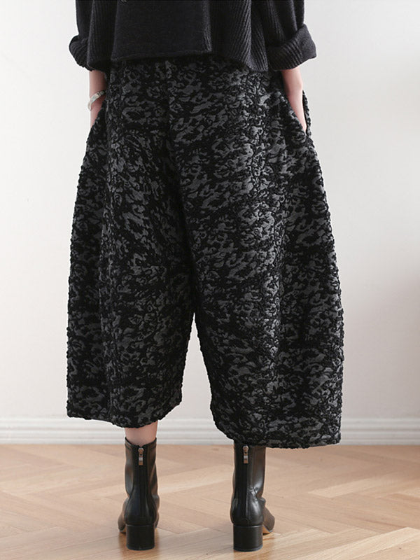 Vintage Loose Thickening Jacquard Nine-Quarter Pants