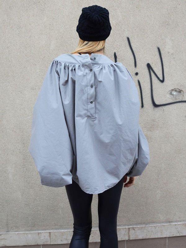 Solid Batwing Sleeves Ruffled Shirt