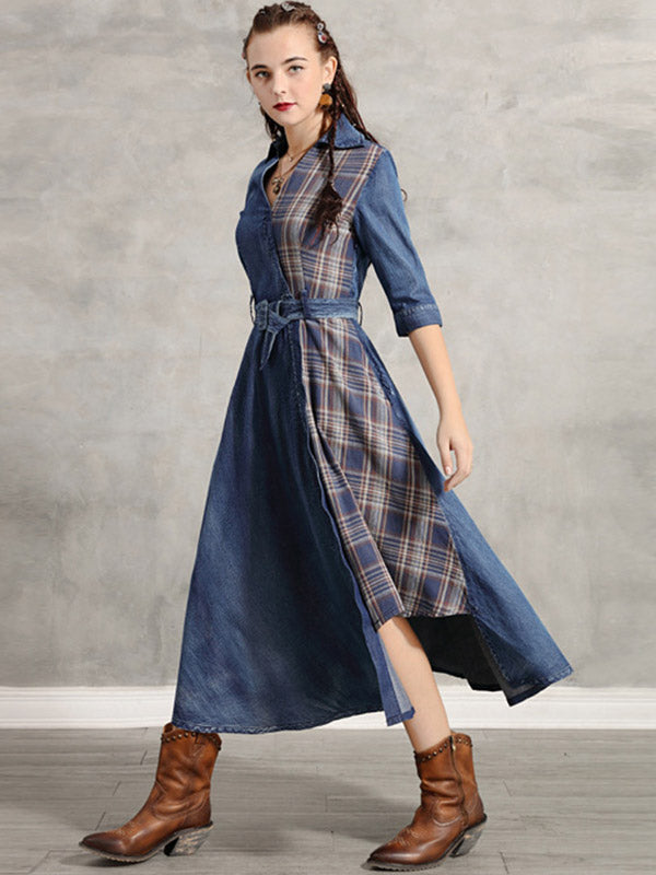 Vintage Plaid Splicing Cropped Jean Midi Dress