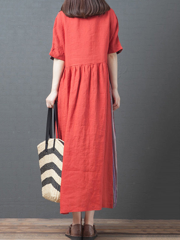 Original Split-Joint Striped V-Neck Dress
