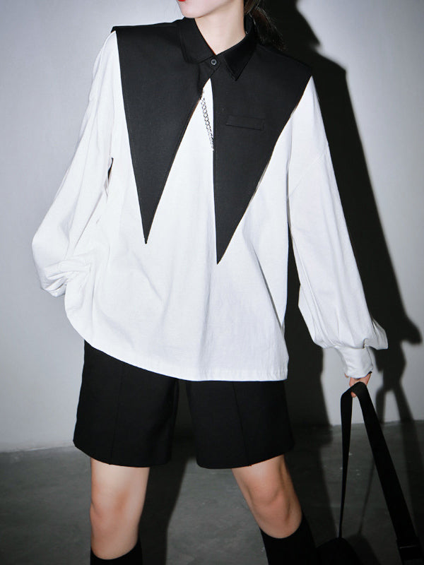 Two-Pieces Loose Lantern Sleeves And Large Pointed Collar Suit