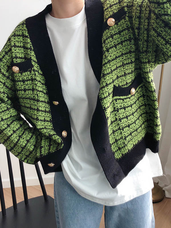 Casual Plaid Knitting Cardigan Outwears
