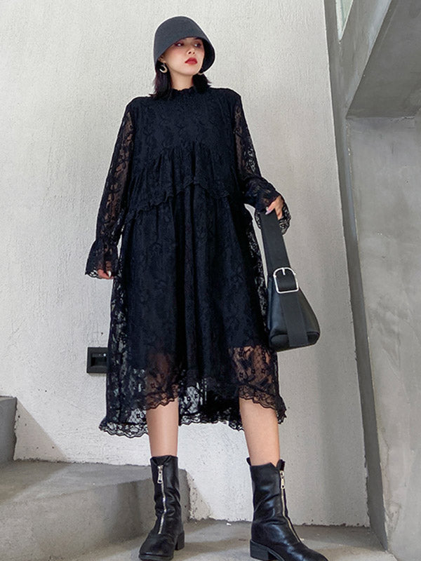 Black Lace A-Line Midi Dress