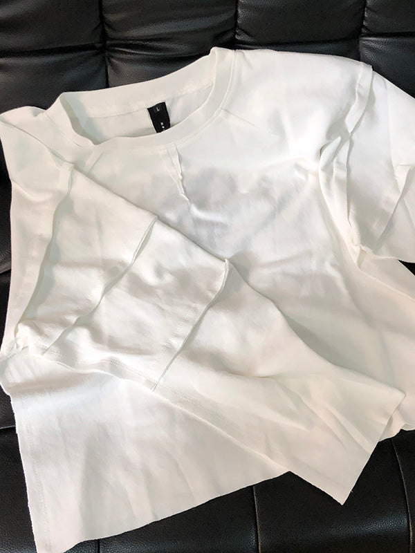 Simple White Solid Round-Neck T-Shirt Top