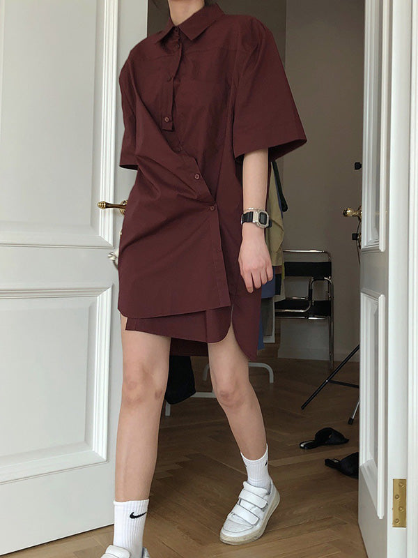 Original Solid Cropped Lapel Shirt Dress