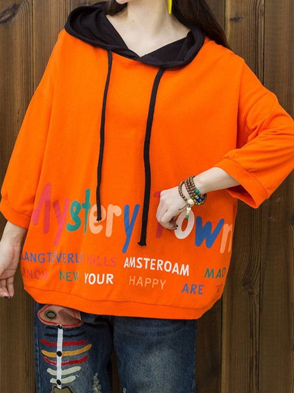 Loose Lettered Print Contrast Color Nine-Point Sleeve Hoodie