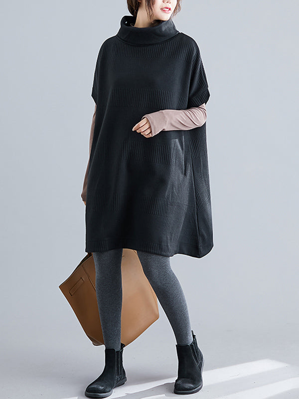 Casual Loose Short Sleeves Turtleneck Sweater Dress