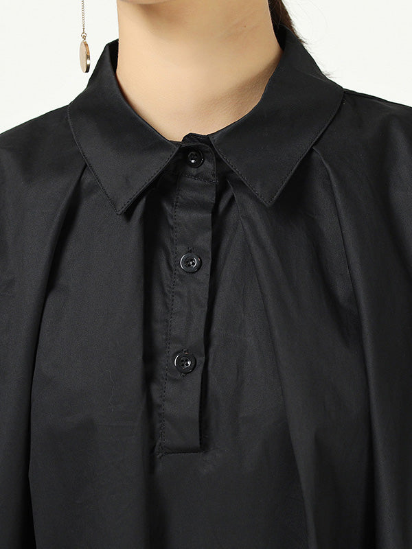 Loose Cropped Solid Color Pleated Shirt