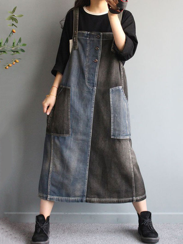 Contrast Color Spliced Jean Sleeveless Dress